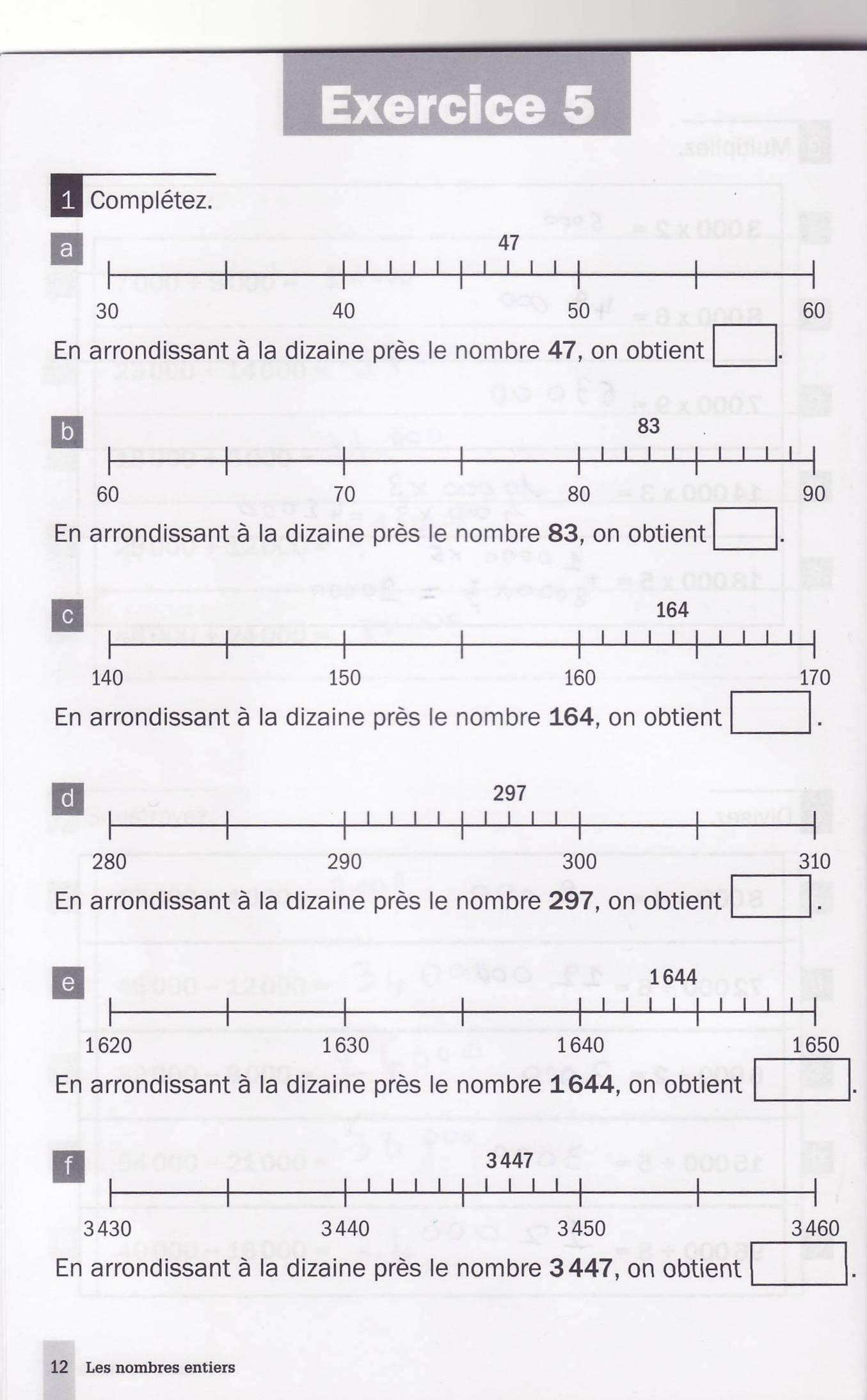 les nombres arrondis LdE cahier d'exercice A