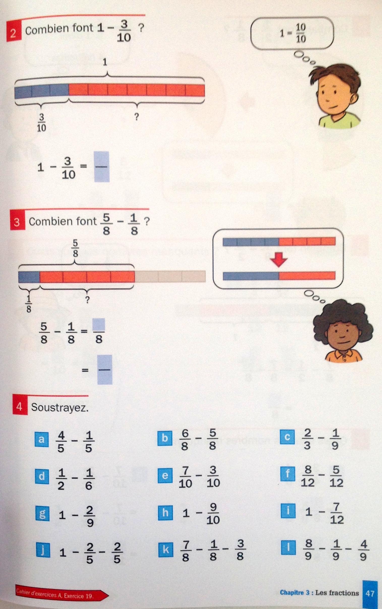 soustractions de fractions