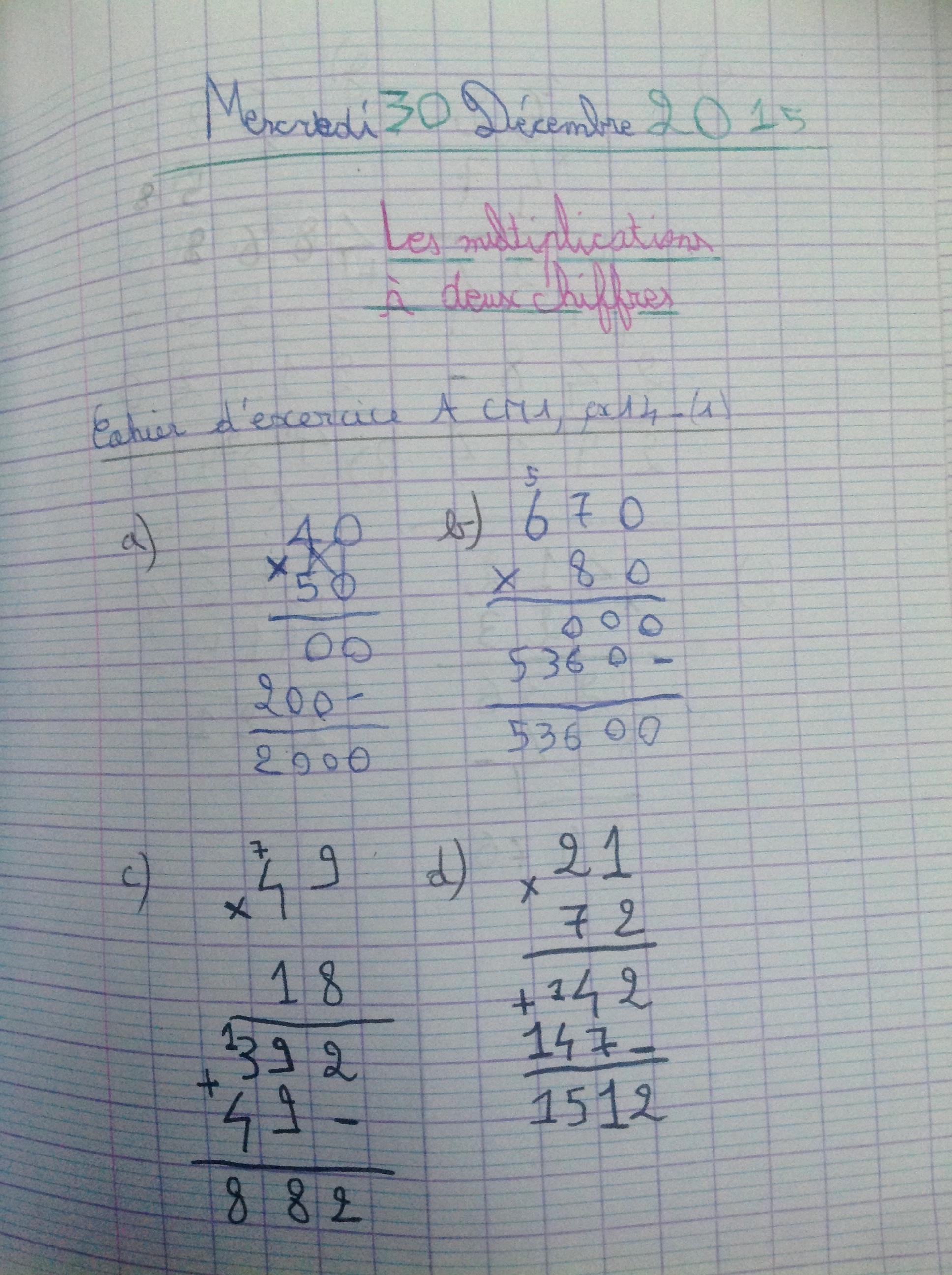 x à 2 chiffres cahier