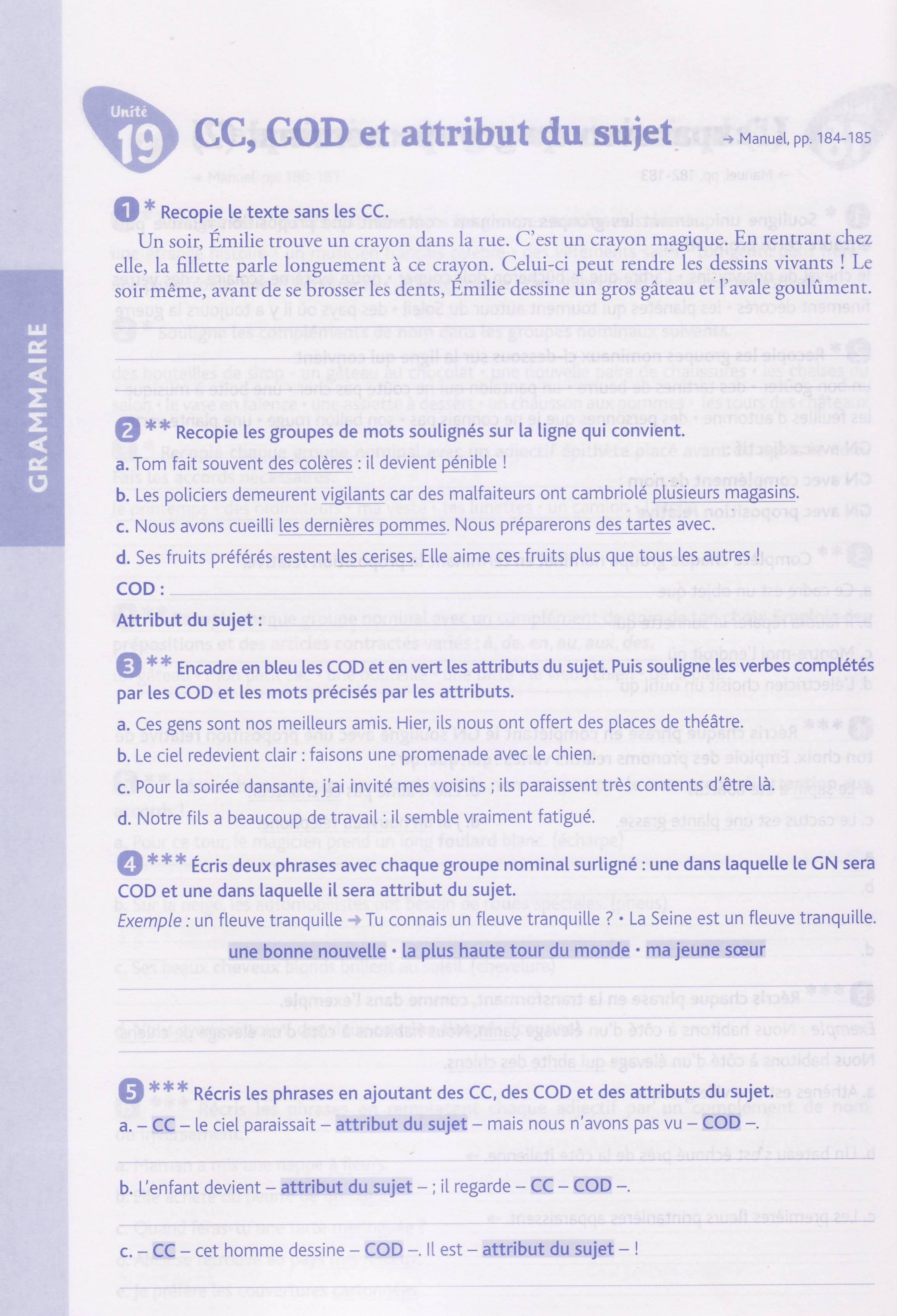 cahier exo croquefeuilles CM1 cc COD attribut du sujet