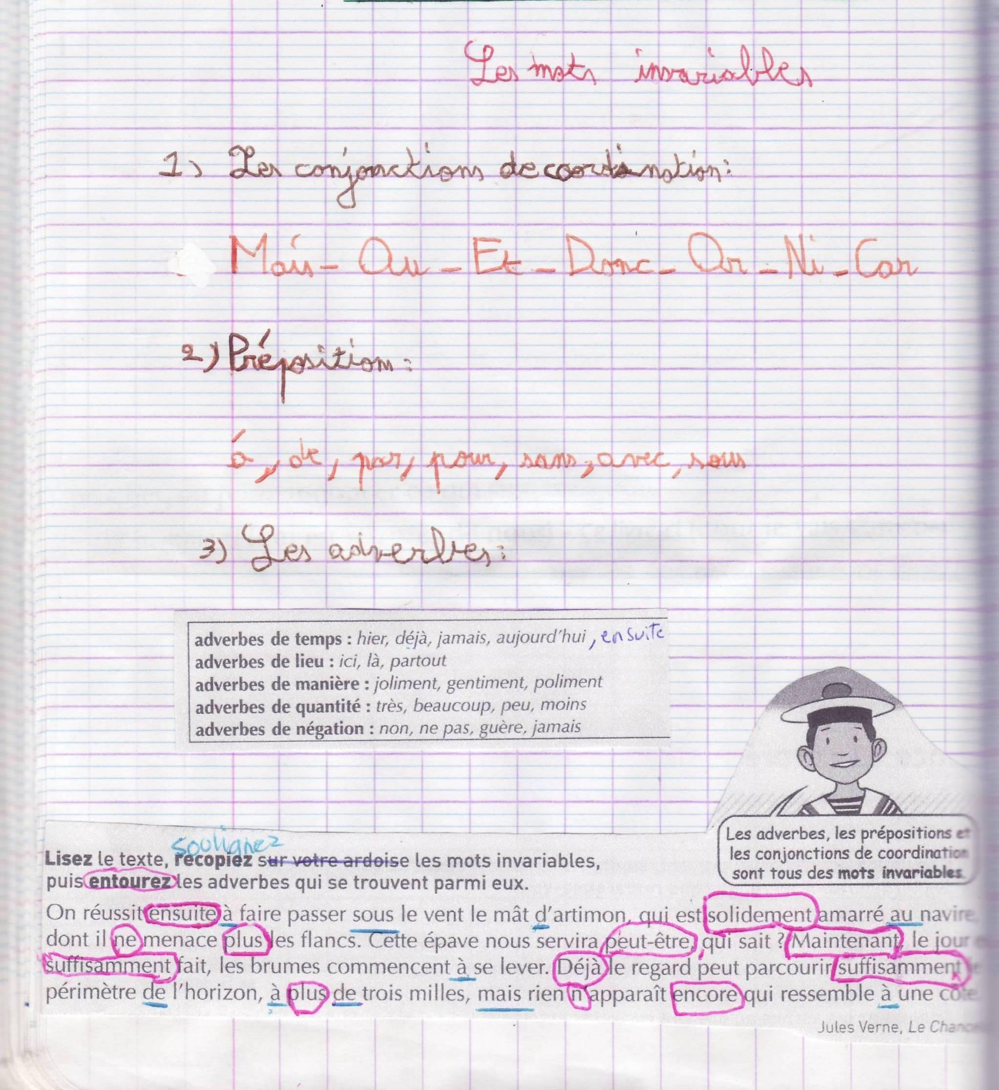 cahier français mots invariables